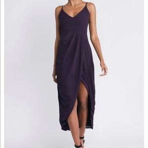 Erin Plum Draped maxi/midi dress